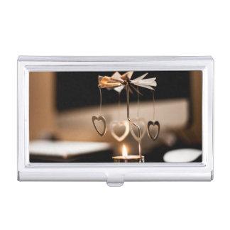 Soporte de la vela con los corazones cajas de tarjetas de presentación
