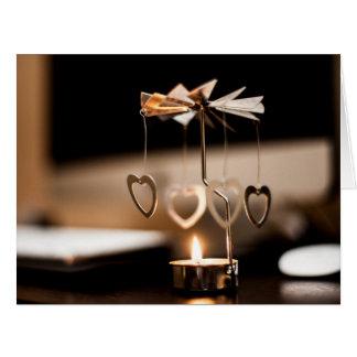 Soporte de la vela con los corazones tarjeta de felicitación grande