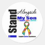 Soporte del autismo I junto a mi hijo Etiqueta Redonda