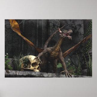 Soporte del cráneo del dragón póster