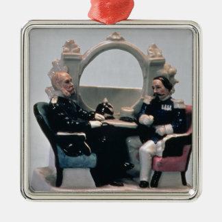 Soporte del reloj en el estilo de un carenado adorno navideño cuadrado de metal