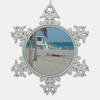 Soporte del salvavidas del pie Lauderdale la Adorno De Peltre En Forma De Copo De Nieve