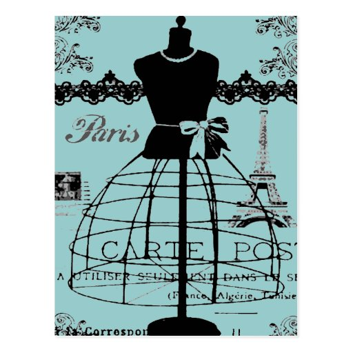 Soporte del vestido de París, estilo del vintage Postales