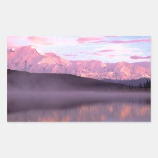 Soporte Denali del lago wonder de la puesta del Pegatina Rectangular