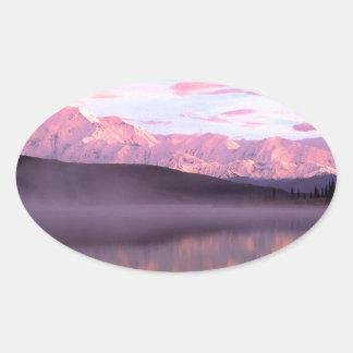 Soporte Denali del lago wonder de la puesta del Pegatina Ovalada