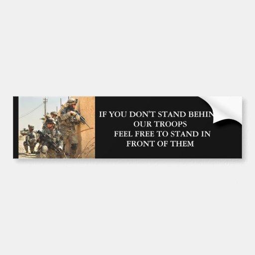 Soporte detrás de nuestras tropas etiqueta de parachoque