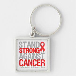 Soporte fuerte contra cáncer de sangre llavero cuadrado plateado