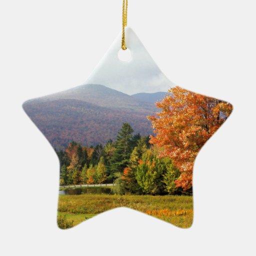 Soporte Mansfield Vermont del otoño Adorno Navideño De Cerámica En Forma De Estrella