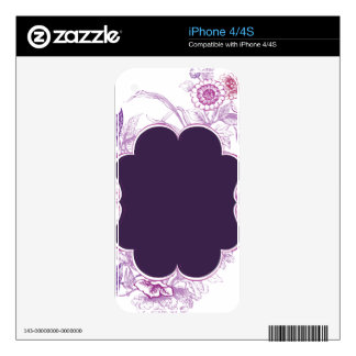 Soporte púrpura en fondo floral calcomanías para el iPhone 4