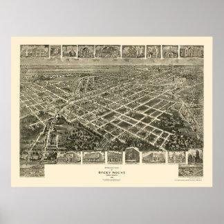 Soporte rocoso mapa panorámico del NC - 1907 Posters