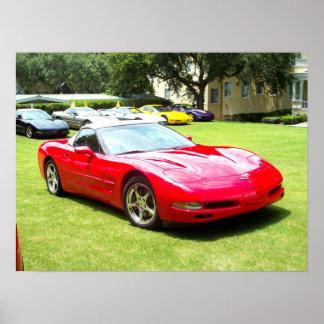 Soporte rojo Dora la Florida del coche de deportes Posters
