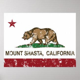 Soporte Shasta de la bandera de la república de Ca Poster