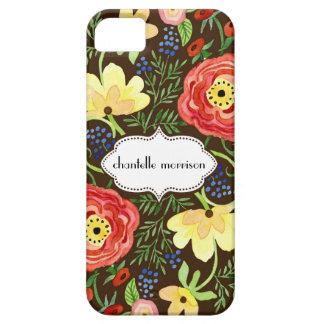 Soporte subió hoja floral moderna del ranúnculo de iPhone 5 cobertura