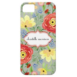 Soporte subió hoja floral moderna del ranúnculo de iPhone 5 Case-Mate fundas