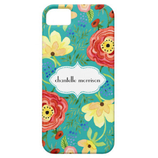 Soporte subió hoja floral moderna del ranúnculo de iPhone 5 Case-Mate protectores