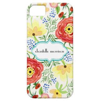 Soporte subió hoja floral moderna del ranúnculo de iPhone 5 carcasa