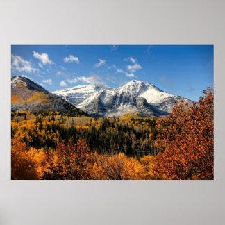 Soporte Timpanogos en las montañas de Utah del oto Póster