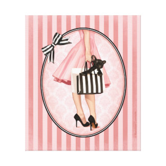 Sopping in the fifties canvas print