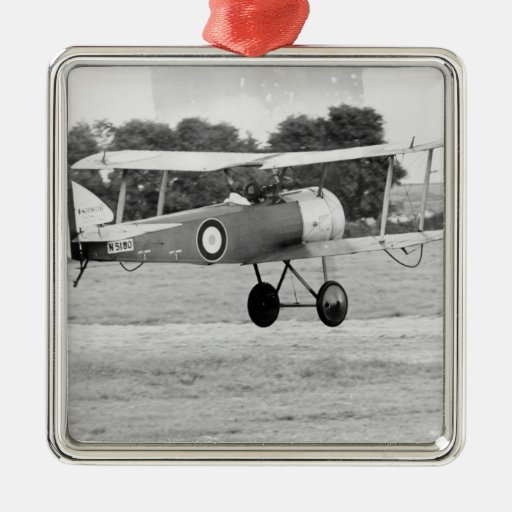 Sopwith Aircraft Taking Off Square Metal Christmas Ornament