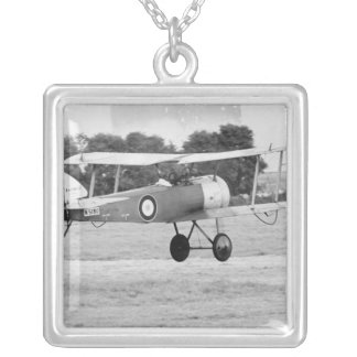 Sopwith Aircraft Taking Off Silver Plated Necklace