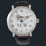 "SOPWITH CAMEL | Monogrammed Wrist Watch<br><div class=""desc"">Sopwith Camel aeroplane image with monogram. WW1 biplane with Roman numerals.</div>"