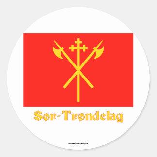 Sør-Trøndelag flag with name Classic Round Sticker