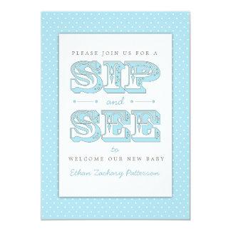 Sorba y vea al bebé dulce en la invitación azul