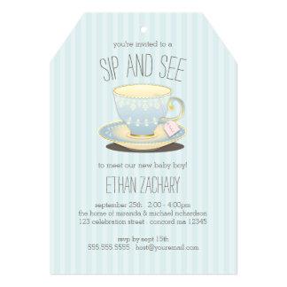 """Sorba y vea la taza de té en bebé azul encontrarse invitación 5"""" x 7"""""""