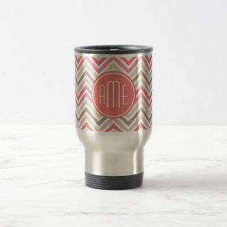 Sorbet Chevrons with Triple Monograms 15 Oz Stainless Steel Travel Mug