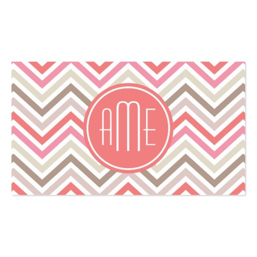 Sorbet Chevrons with Triple Monograms Business Card Templates