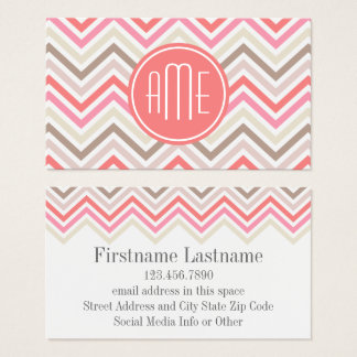 Sorbet Chevrons with Triple Monograms Business Card