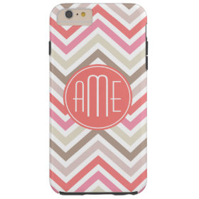 Sorbet Chevrons with Triple Monograms Tough iPhone 6 Plus Case