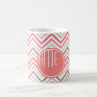 Sorbet Chevrons with Triple Monograms Coffee Mug