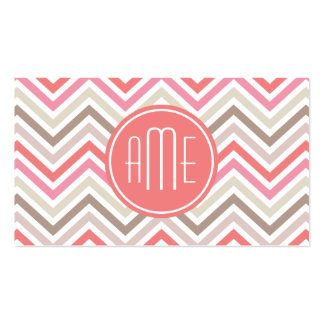 Sorbet Chevrons with Triple Monograms Double-Sided Standard Business Cards (Pack Of 100)
