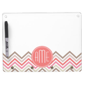 Sorbet Chevrons with Triple Monograms Dry Erase Board With Keychain Holder