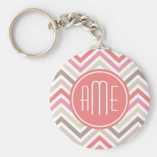 Sorbet Chevrons with Triple Monograms Keychains