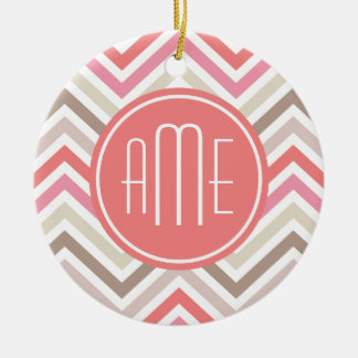 Sorbet Chevrons with Triple Monograms Double-Sided Ceramic Round Christmas Ornament