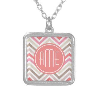 Sorbet Chevrons with Triple Monograms Square Pendant Necklace