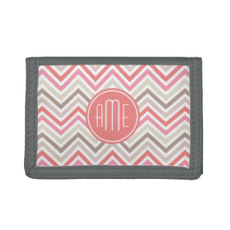 Sorbet Chevrons with Triple Monograms Trifold Wallet