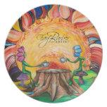 Sorbo de la placa del arte de la sol platos para fiestas