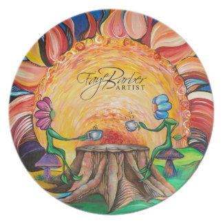 Sorbo de la placa del arte de la sol plato para fiesta