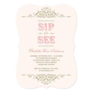 Sorbo elegante de la niña del Flourish del vintage Invitacion Personalizada