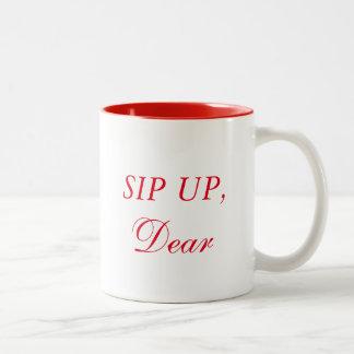 Sorbo para arriba, estimado taza de café de dos colores