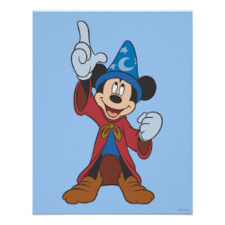 Matte Poster with Disney Fantasia's Mickey Mouse Sorcerer's Apprentice design