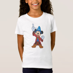 Girls' Fine Jersey T-Shirt with Disney Fantasia's Mickey Mouse Sorcerer's Apprentice design