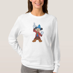 Women's Basic Long Sleeve T-Shirt with Disney Fantasia's Mickey Mouse Sorcerer's Apprentice design