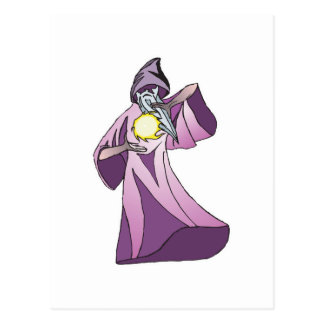 sorcerer wizard with crystal ball postcards