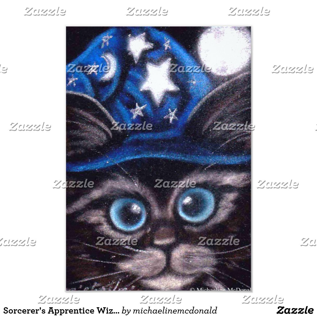 Sorcerer's Apprentice Wizard Cat Invitations