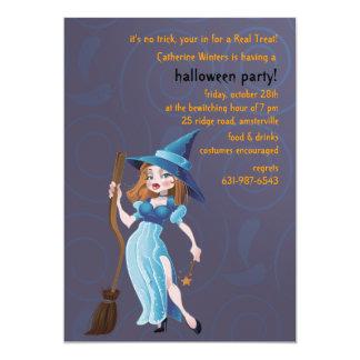 Sorceress in Blue Halloween Invitation
