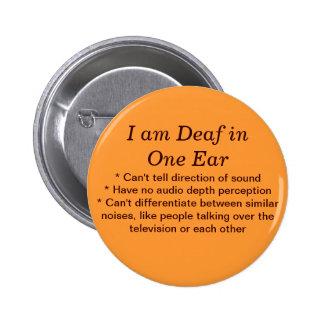 Sordo en una hoja de pesebre del botón del oído pin redondo de 2 pulgadas